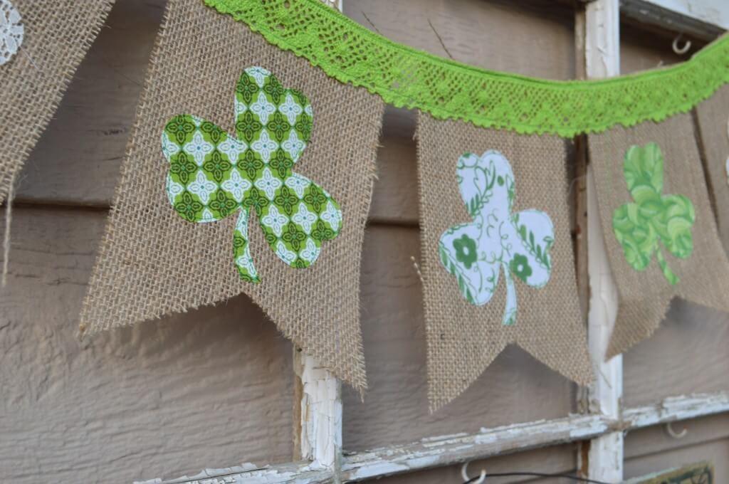 St Patrick's day DIY burlap pennant craft